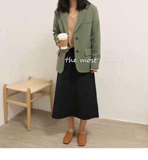 🚚 春季抹茶綠排扣西裝外套