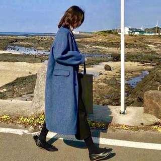 🚚 霧霾藍毛呢夾棉大衣外套
