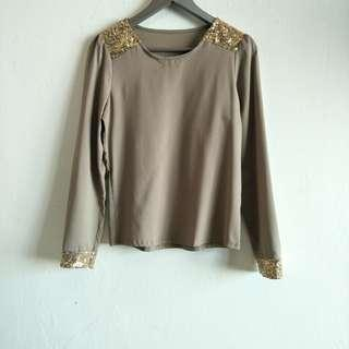 Brown Sequin Blouse