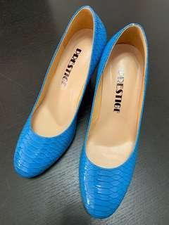 Bright blue shoes