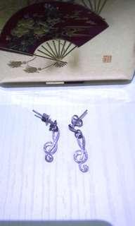 """【●】1400""""小收藏品■美麗音符■ITALY 925袖珍耳環"""""""