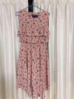 Pink Ruffle Dress with Bird Prints