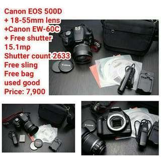Canon EOS 500D + 18-55mm lens +Canon EW-60C + Free shutter