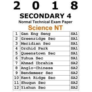 2018 Sec 4 Science NT exam paper / normal technical / Science / soft copy / hard copy
