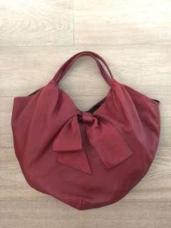Valentino Bow Signature red leather Hobo Handbag