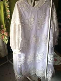 Bangkok kebaya Full brokat Dress premium Full white mix broken white
