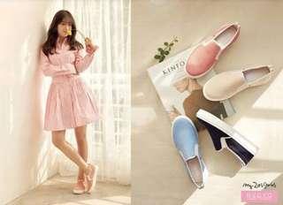 🚚 莓果粉 39 日本代購 ABC MART自有品牌 NUOVO BARBARA 3 休閒懶人便鞋系列 帆船鞋 帆布鞋