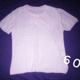 Knitted top (short sleeve, pink)