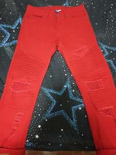 HnM skinny ripped pants (red)
