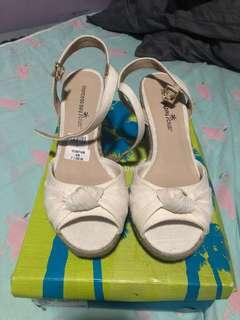 Payless wedge white canvas espadrilles