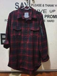 Red flannel plaid shirt (long back)