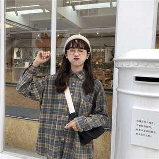 🚚 (preorder) checkered grid plaid long sleeved outerwear
