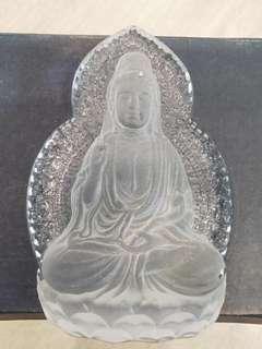 Guan Yin Ma Glass Display 3D Statue Figurine Emblem