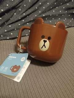 100% New 全新 韓國購入 Line 熊大 BROWN MUG 膠水杯