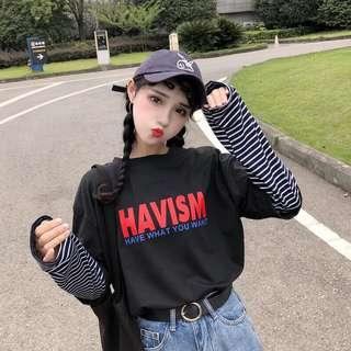 🚚 (preorder) oversized two piece striped long sleeve hip hop top