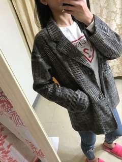 毛呢格紋西裝外套