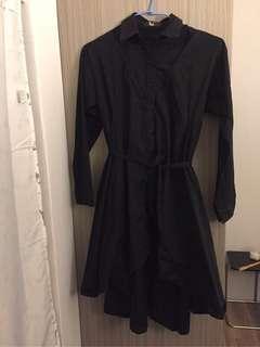 🚚 🔥二手貨🔥惡狐購入 設計款 黑色個性長襯衫洋裝 暗黑系 巫女洋