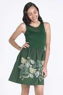 Forme embroidered fit and flare green dress