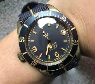 95%NEW 瑞士HEROIC 18 DL1002 全球限量128隻 靚no 復古銅錶 已氧化 全自動ETA機芯 大裝 FULL SET $3780