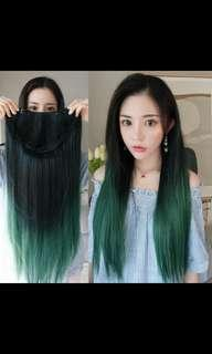 🚚 (NO INSTOCKS!) Preorder korean U shaped peacock green clip on wig * waiting time 15-18 days after payment is made * chat to buy to order