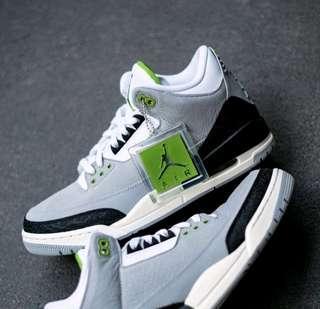 🚚 Nike Air Jordan 3 Retro Chlorophyll US9.5 公司貨 灰綠 爆裂紋 AJ3