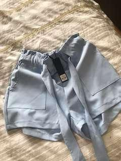 Baby blue tie up shorts
