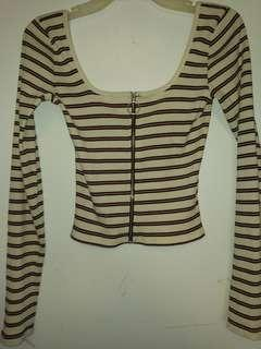 Hollister striped zip top