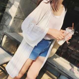 韓版 蕾絲雪紡開衫 中長款 七分袖 薄外套