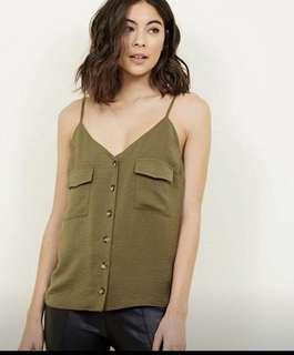 Khaki cami top new look Bardot sheike kookai