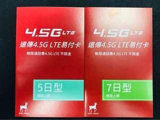 遠傳電信 4.5G LTE 不限速 台灣 7日 無限上網 高雄 台中 台北 花蓮