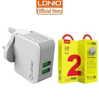Original LDNIO A2203 2.4A 2 Port Travel Charger With UK Plug