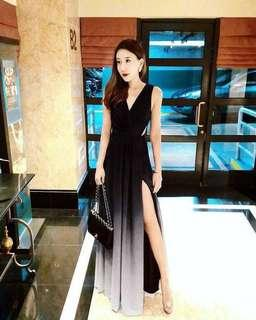 Dawn Black Ombre Slit Dress