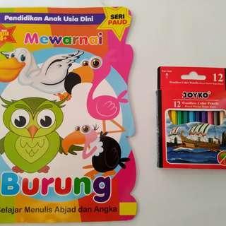 Buku mewarnai free pensil warna JOYKO