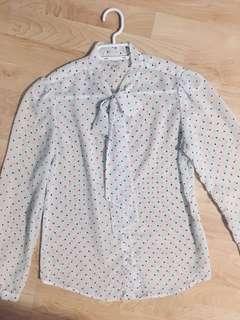 American Apparel chiffon polkadot blouse size small