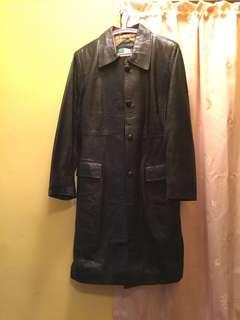 Middle long leather jacket (Black)