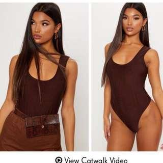 BNWT PLT Slinky Chocolate Leotard/Bodysuit