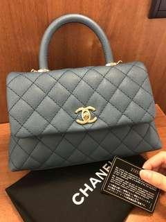 Wow! 19S Chanel coco handle mini Blue Caviar Ghw #27