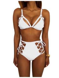 Womens High-Waisted White Bikini