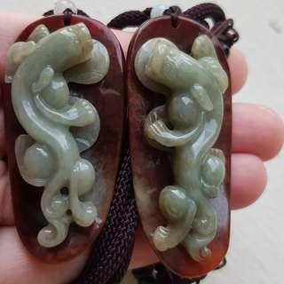 Certified Type A Jadeite Pendant Red Green Jade Pair Antique Dragon Coin 富贵 仿古龙