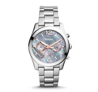 🚚 Fossil prefect Boyfriend gray Mother of pearl dial ladies women's Watch