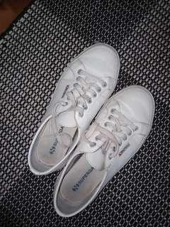 SUPERGA White Leather Sneakers