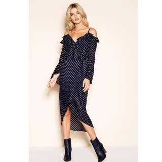 Sheike Polka Dot Navy Wrap Look Midi Dress Size 6