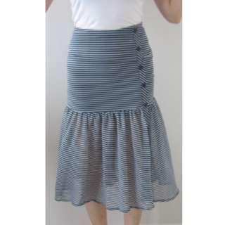 Bardot Striped Nautical Mermaid Skirt Size 6 BNWOT