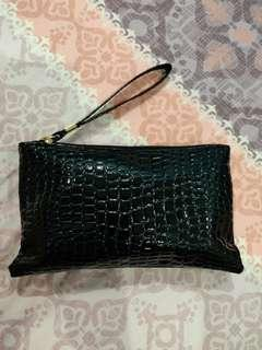 Croc embossed make up pouch