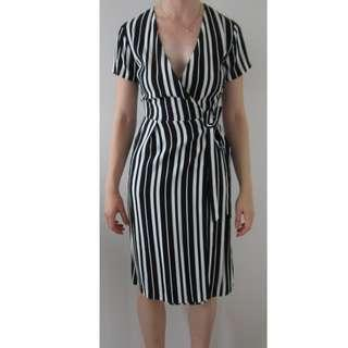 French Connection Black and White Stripe Wrap Dress Size 6 BNWOT