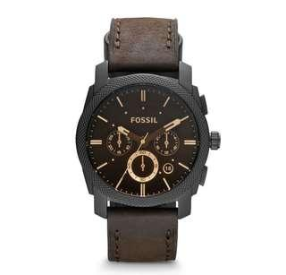🚚 Fossil Men's Machine Mid Size Chronograph brown Leather Watch