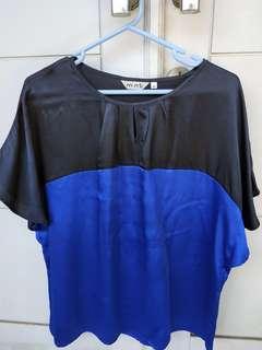 Atasan blouse wanita hitam biru merk MINT