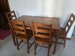 Dining Table & Chairs Wood (Used)