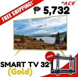 """ACE Smart TV 32"""" Gold ₱ 5,732 lang! FREE Delivery na with free wall bracket pa!"""