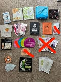 Face sheet masks - various brands